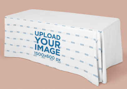 Exhibition Tablecloth Mockup Featuring a Wide Table in a Plain Background 28547