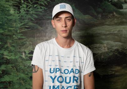 T-Shirt Mockup of a Tattooed Man Wearing a Dad Hat 28580