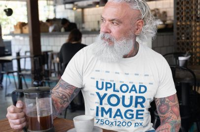 T-Shirt Mockup of a Senior Man Drinking a Coffee 28415