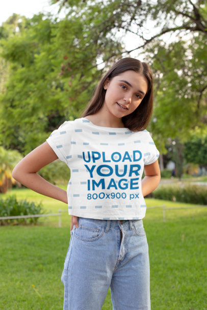 Crop Top Mockup of a Young Woman at a Park 28565