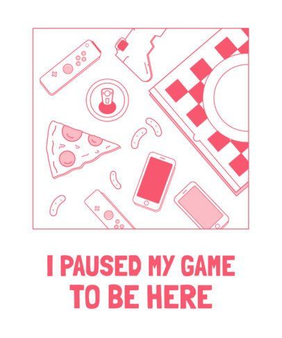 T-Shirt Design Generator Featuring Pizza and Gaming Supplies Graphics 1634e