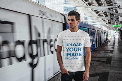 T-Shirt Mockup Featuring a Man at a Subway Station 426-el