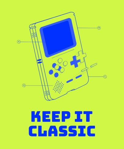 T-Shirt Design Template Featuring a Retro Gameboy Device 1634i