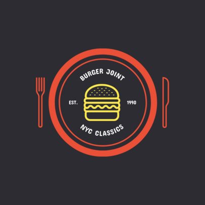 Retro Logo Template for a Fast Food Restaurant with a Burger Graphic 1013e