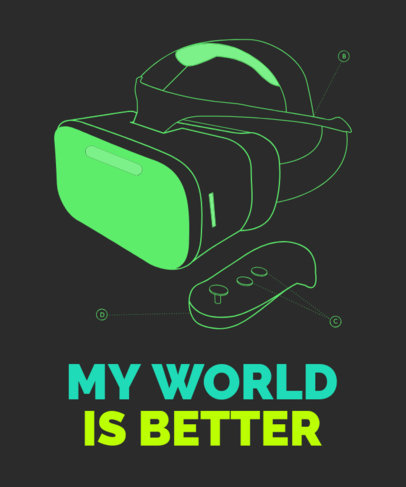 Gaming T-Shirt Design Creator with a VR Headset Device 1634l