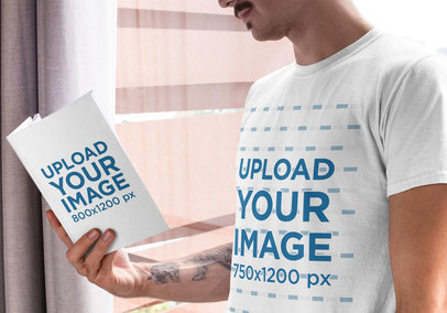 T-Shirt Mockup of a Man Reading a Book at His House 28498
