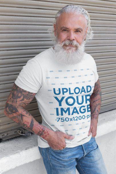 T-Shirt Mockup of a Senior Man with a White Beard 28419