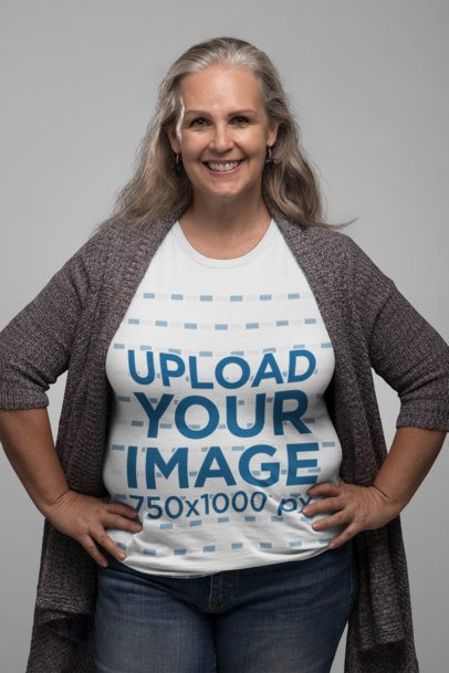 T-Shirt Mockup of a Smiling Senior Lady with Hands on Her Waist 28447