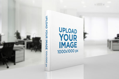 Mockup of a Hardcover book Standing in an Office Desk 293-el