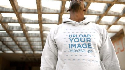 Hoodie Video of a Man with a Big Attitude at an Abandoned Building 13129
