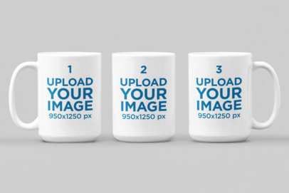 Mockup of Three Individual 15 oz Mugs on a Solid Background 28930