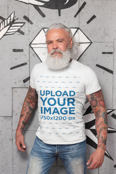 Tee Mockup Featuring a Senior Man with a White Beard and Tattoos 28421