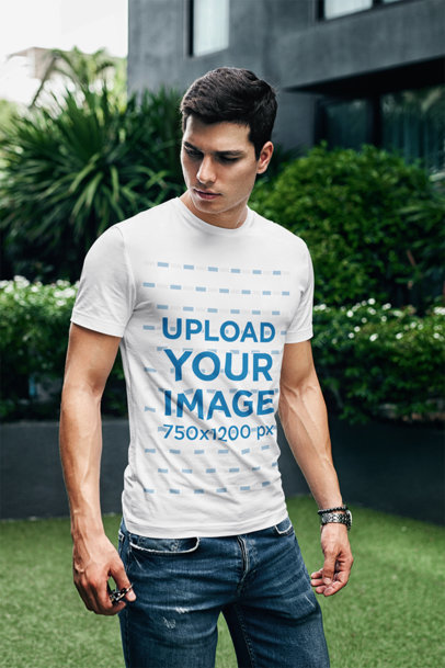 T-Shirt Mockup Featuring a Serious-Looking Man at a Garden 429-el