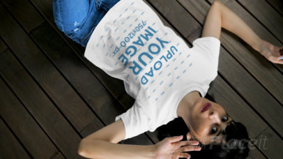 T-Shirt Video of a Woman Lying on a Wooden Floor 28917