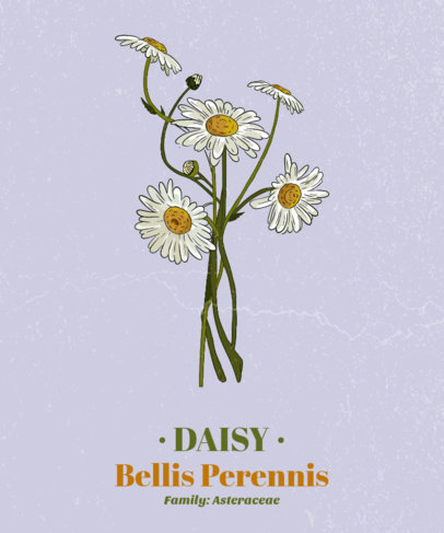 Flower T-Shirt Design Template Featuring a Daisy 1661a