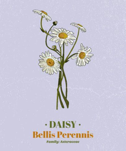 Flower T-Shirt Design Template Featuring a Daisy 1661a