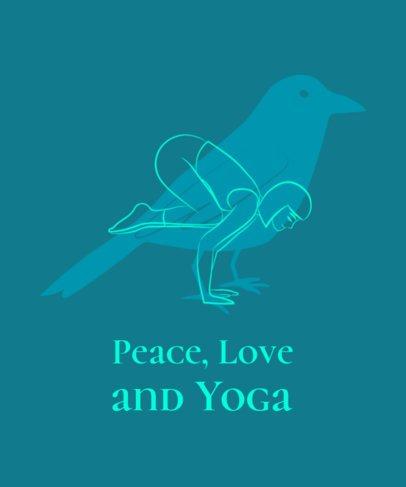 Simple T-Shirt Design Template Featuring Yoga Asanas Illustrations 1663f
