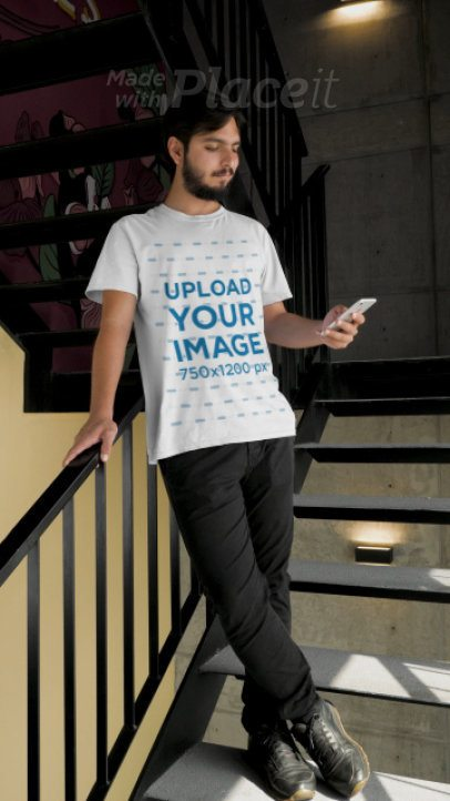 T-Shirt Video of a Man Checking his Cellphone 28920