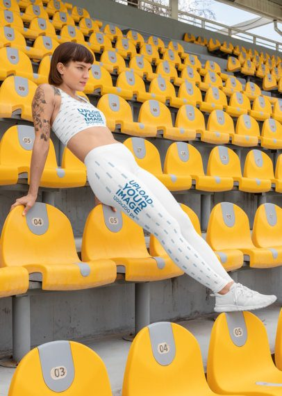 Sports Bra Mockup of a Woman with Leggings at a Stadium  28726