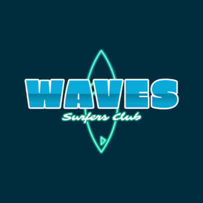 Neon Nightclub Logo Maker with a Surf Theme 2416a