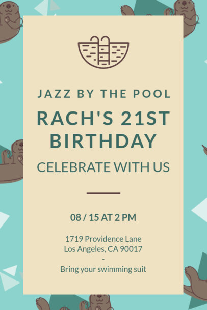 Invitation Template for a Birthday Pool Party Celebration 1684