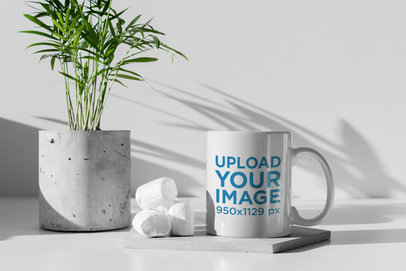 11 oz Mug Mockup Featuring Some Marshmallows and a Concrete Plant Pot 400-el
