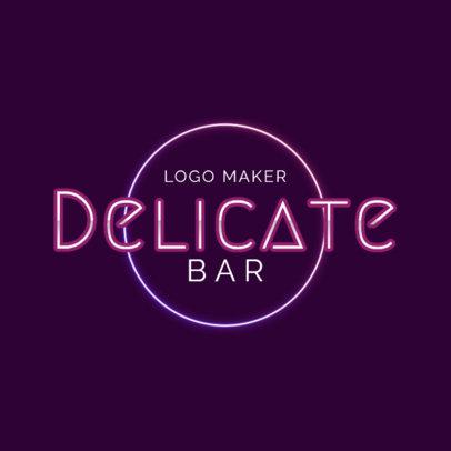 Elegant Bar Logo Maker with Neon Lights Art 2416g