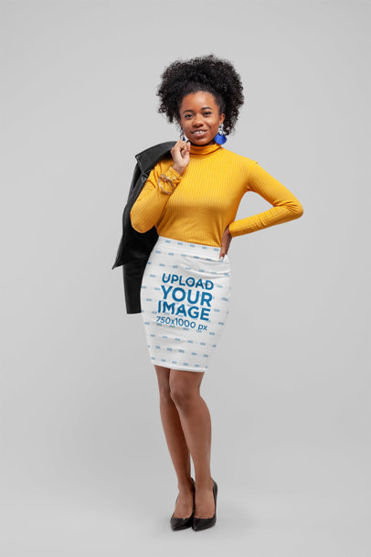 Pencil Skirt Mockup of a Woman Posing in a Studio