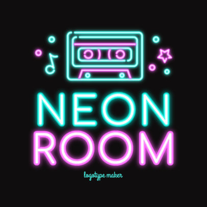 Nightclub Logo Template Featuring Vibrant Neon Graphics
