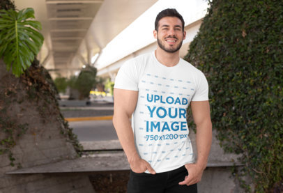Mockup of a Fit Man Wearing a Crewneck T-Shirt on a Sunny Day 28522