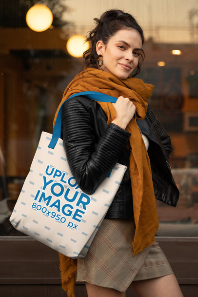 Tote Bag with Customizable Strap Mockup of a Woman Posing Outside 28859
