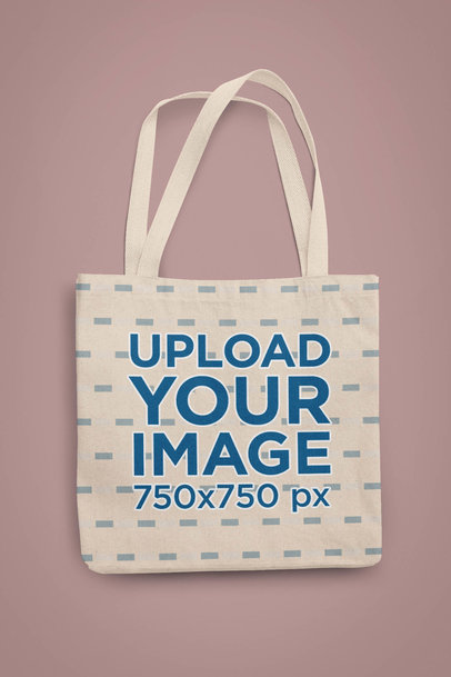 Minimalistic Mockup of a Tote Bag Lying on a Customizable Background 28946