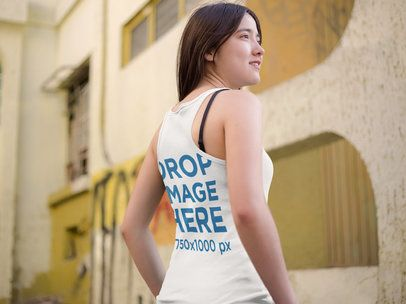 Back of an Asian Girl Wearing a Tank Top Mockup Outside a House a9542b