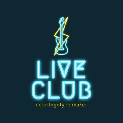 Logo Generator for a Live-Music Nightclub with Neon Graphics 2413c