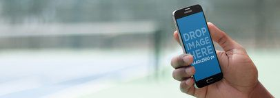 Android Phone Mockup Being Used in a Tennis Court a9515