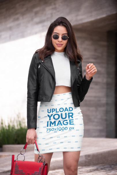 Pencil Skirt Mockup Featuring a Fashionable Woman with a Leather Jacket