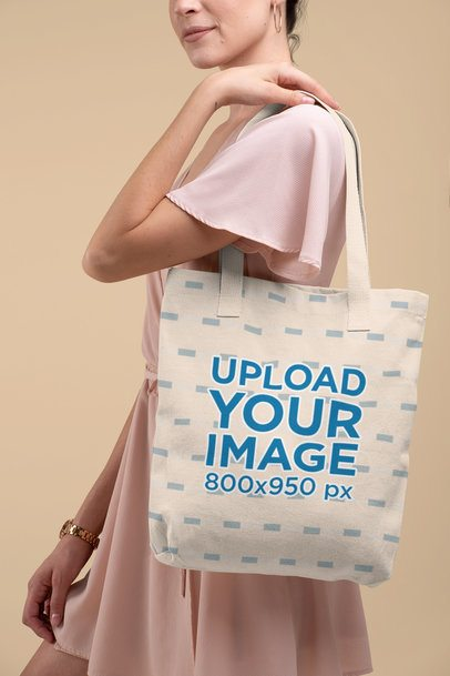 Mockup of a Woman in a Dress Carrying a Tote Bag with a Customizable Strap 28815
