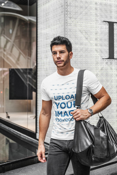 T-Shirt Mockup of a Trendy Man Walking at a Shopping Mall 436-el