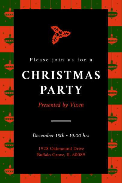 Christmas Party Invitation Maker with a Mistletoe Illustration