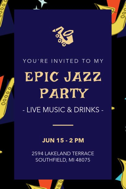 Invitation Template for an Epic Jazz Party Celebration 1684f