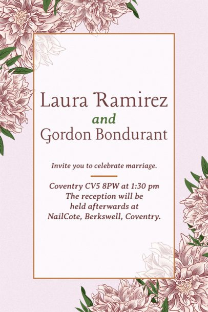 Wedding Invitation Template with an Elegant Floral Design in the Background 1683e