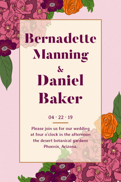 Floral-Inspired Invitation Template for a Wedding 1683g