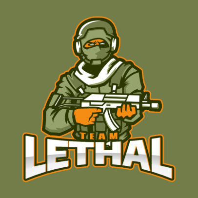 Shooting Game Logo Maker with a Desert Geared Soldier Illustration 2449x