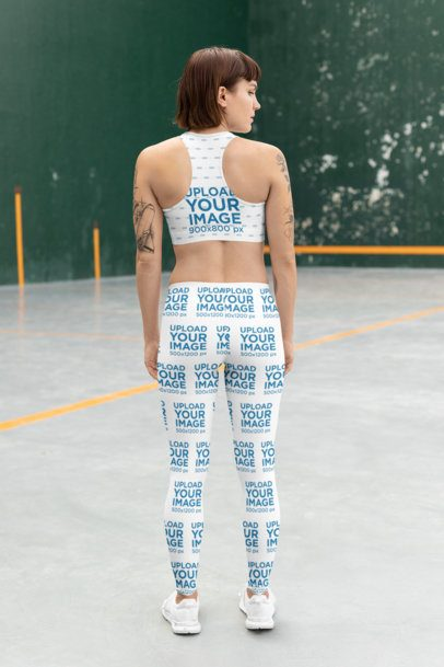 Back View Mockup of a Fit Woman Wearing a Sports Bra and Leggings 28732