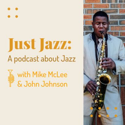 Minimal Podcast Cover Template for a Jazz Music Show 1721a