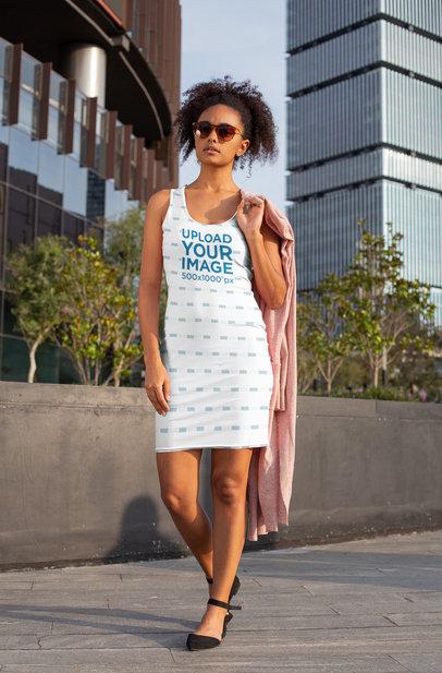 Racerback Dress Mockup of a Stylish Woman Walking Around the City 28771