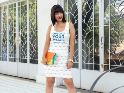 Mockup of a Trendy Woman Wearing a Racerback Dress in the Street 28816