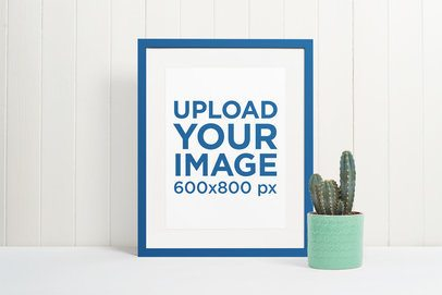 Picture Frame Mockup Featuring a Cactus Pot 539-el