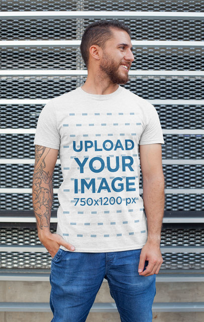 Heathered T-Shirt Mockup of a Tattooed Man Posing