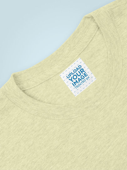 Mockup of a Square Clothing Label on a Heather T-Shirt 28970